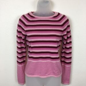 Halogen Pink Funky Stripe Cashmere Sweater Size S